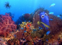 "Dory interrupts a Jean-Michel Cousteau ocean documentary in ""Exploring the Reef."""