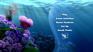 The new Finding Nemo DVD does not give you the little fish icon to make the listings disappear.