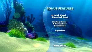 The new Finding Nemo DVD's bonus features menu is pathetically skimpy.