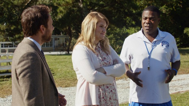 Andy's quirky colleagues (Jillian Bell and Tracy Morgan) offer little guidance to him.