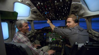 "For his performance as co-pilot Ken Evans, Brian Geraghty acclimates himself to cockpit controls in ""The Making of 'Flight."""