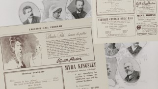 "Old Carnegie Hall programs are on display in ""Live at Carnegie Hall."""