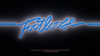 "The electric blue title logo for ""Footloose"" appears at the end of its original theatrical trailer."