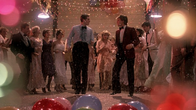 Everybody cut footloose in the grain mill prom finale of colorful string lights, balloons, and confetti!