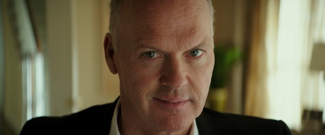 "Michael Keaton gets very close to the camera as businessman and future billionaire Ray Kroc, the subject of the McDonald's biopic ""The Founder."""