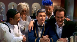 "In ""The Man from Hollywood"", Ted the Bellhop (Tim Roth) gets a very roundabout request from director Chester Rush (Quentin Tarantino) and his drunken penthouse party (Paul Calderon, Jennifer Beals, and Bruce Willis)."