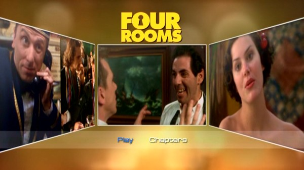 "The main menu of Echo Bridge's barebones DVD is undoubtedly more animated than the previous DVD release that Disney gave ""Four Rooms."" Featured here: Tim Roth, Lawrence Bender, David Proval, and topless Ione Sky."