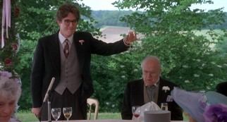 Irresponsible best man Charles (Hugh Grant) gives a toast at the first wedding.