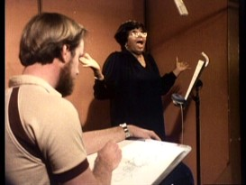 "An unidentified bearded animator sketches Big Mama while her voice actor Pearl Bailey sings ""Best of Friends"" in ""Passing the Baton."""