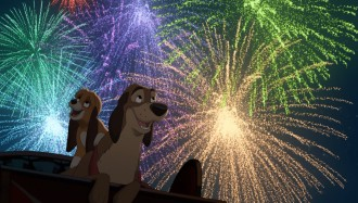 "Copper enjoys a Ferris wheel view of fair fireworks on the back of Cash in ""The Fox and the Hound 2."""