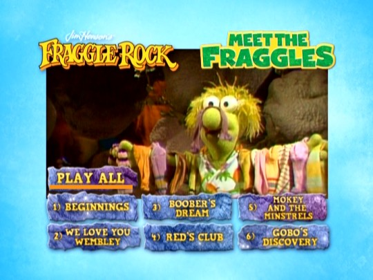Socks are hung on Wembley to dry on the Meet the Fraggles DVD main menu.
