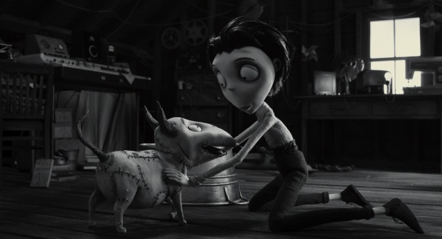"Young Victor Frankenstein is thrilled to reunite with his beloved but deceased dog Sparky in Tim Burton's stop motion 2012 animated film ""Frankenweenie."""