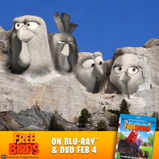 "Turkeys take over Mount Rushmore to promote Fox's Blu-ray and DVD release of ""Free Birds."""