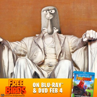 "Jake dethrones Abraham Lincoln in Washington's Lincoln Monument to promote Fox's Blu-ray and DVD release of ""Free Birds."""