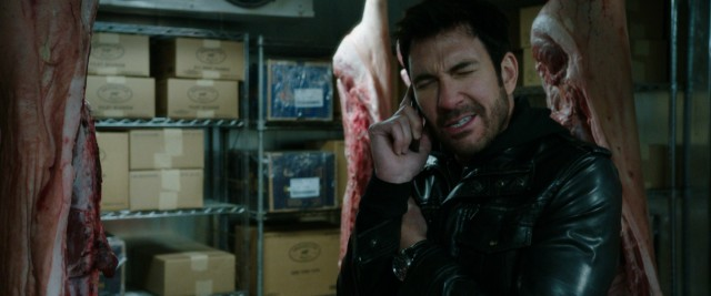 """Freezer"" stars Dylan McDermott as a New York mechanic who is locked in an icy freezer among pig carcasses and such."