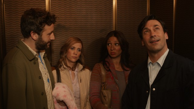 "Chris O'Dowd, Kristen Wiig, Maya Rudolph, and Jon Hamm take an elevator ride from ""Bridesmaids"" to play the supporting cast of ""Friends with Kids."""