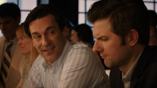 Ben (Jon Hamm) drops an apology and a little barside wisdom on Jason (Adam Scott).