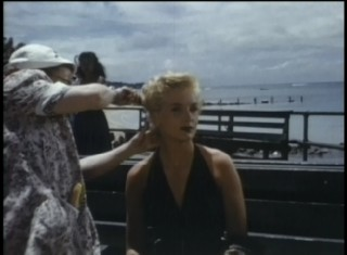 "Deborah Kerr has her hair touched up on set in color home movies from ""The Making of 'From Here to Eternity.'"""