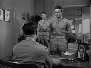 Robert E. Lee Prewitt (Montgomery Clift) reports for duty, reluctant to talk bugling or boxing.