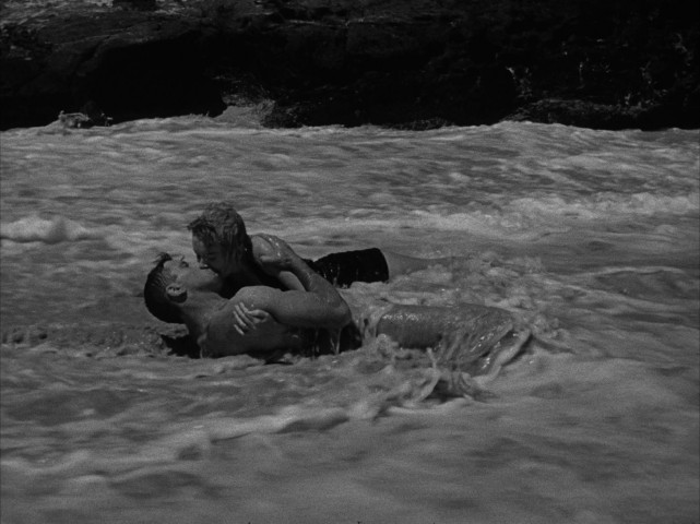 "For better or worse, this shot of two lovers (Burt Lancaster, Deborah Kerr) amidst waves on the beach remains the most iconic image of ""From Here to Eternity."""