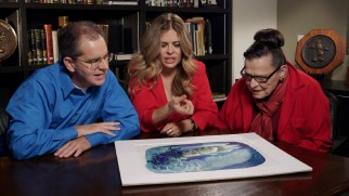 "Alice Davis (far right) shows her husband's concept art for an unrealized Hans Christian Anderson theme park attraction to ""Frozen"" directors Chris Buck and Jennifer Lee."