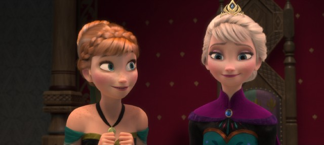 "Anna is proud to stand next to her sister Elsa at Elsa's coronation in Disney's ""Frozen."""