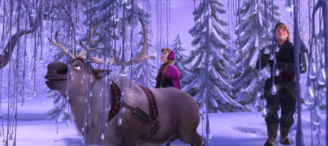 Elsa's powers cast an icy beauty to the land of Arendelle, as Sven, Anna, and Kristoff notice here.