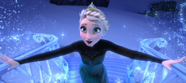 "Ascending an ice staircase, Elsa sings ""Let It Go"", winner of the 2013 Best Original Song Oscar."