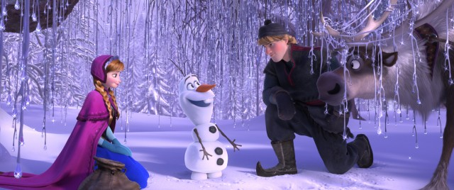 "Anna, Kristoff and Sven the reindeer meet Olaf the snowman in Disney's ""Frozen."""