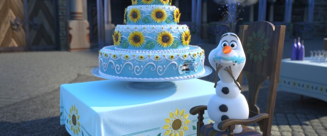 "Olaf the snowman gets into Anna's birthday cake in ""Frozen Fever."""