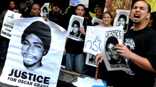 "This image of demonstrators is shown in ""Fruitvale Station: The Story of Oscar Grant."""