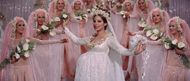 Fanny Brice (Barbra Streisand) surprises Florenz Ziegfeld by adding a baby bump to his big finale number.