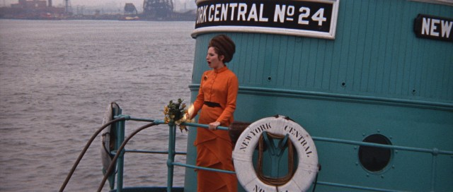 "From a boat near Ellis Island, Fanny Brice (Barbra Streisand) performs ""Don't Rain on My Parade."""