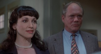 Principal Drake (Bebe Neuwirth) and Mr. John Tate (Daniel Von Bargen) respond incredulously to reports of teacher malfeasance.