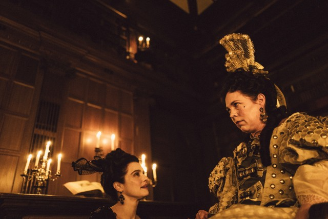 "Olivia Colman plays Queen Anne and Rachel Weisz is her trusted longtime aide Lady Sarah Churchill in Yorgos Lanthimos' ""The Favorite."""