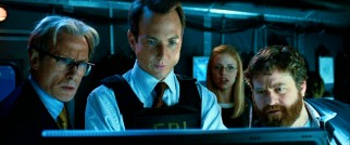 The film's four top-billed live actors (Bill Nighy, Will Arnett, Kelli Garner, and Zach Galifianakis) come together in this one shot from the film's climax.