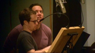 "We get a brief glimpse of Sam Rockwell and Jon Favreau recording their parts together in the ""G-Farce"" bloopers reel."