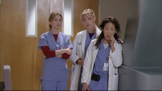 Meredith (Ellen Pompeo), Izzie (Katherine Heigl), and Cristina (Sandra Oh) are the series' three central female surgical interns.