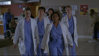 """The Nazi"" (Chandra Wilson) takes her assigned interns around Seattle Grace Hospital."