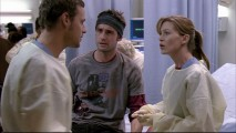 "Alex (Justin Chambers) and Meredith argue over whose patient Viper (guest Callum Blue) should be in ""Winning a Battle, Losing the War."""