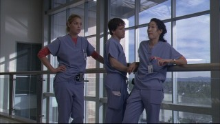 Izzie, George, and Cristina wait outside as Meredith gets subjected to possible legal trouble.