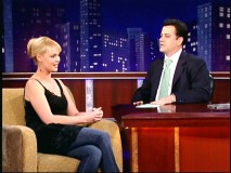 "Katherine Heigl appears on ""Jimmy Kimmel Live."" Too bad she's not there when he's ""bitten by a snake"" later in the program. Blah."