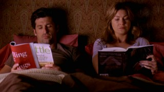 "With the ""will they or won't they?"" drama laid to rest, Derek (Patrick Dempsey) and Meredith (Ellen Pompeo) can now do ordinary couple things like reading in bed together."
