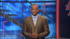 "Stuart Scott brings his own booyah for the fake SportsCenter report ""The King in Search of a Ring."""