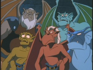The supporting gargoyles.