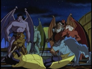 The gargoyles take a moment to catch their collective breaths after defeating the now-robotically-enhanced version of The Pack.