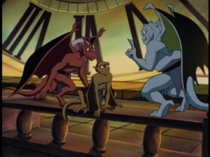 The three young gargoyles debate over who should be second-in-command.