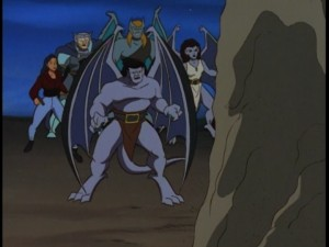 Goliath and Elisa are aided by the newfound gargoyles of Avalon, including Angela (right).