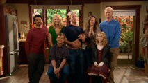 "It's not clear why the whole original 7-member cast assembled and faced the camera, but Jay Mohr's belly-exposing display gets it briefly preserved in the blooper reel ""Gary Unhinged."""