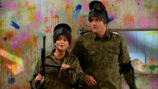 "Father (Jay Mohr) and son (Ryan Malgarini) bond over paintball in ""Gary Toughens Up Tom."""